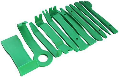 11個入りプラスチック製こじりツールトリムダッシュボードドアクリップパネル取り外しインストーラーのオープニング修復ツール、PC電話分解セット-緑
