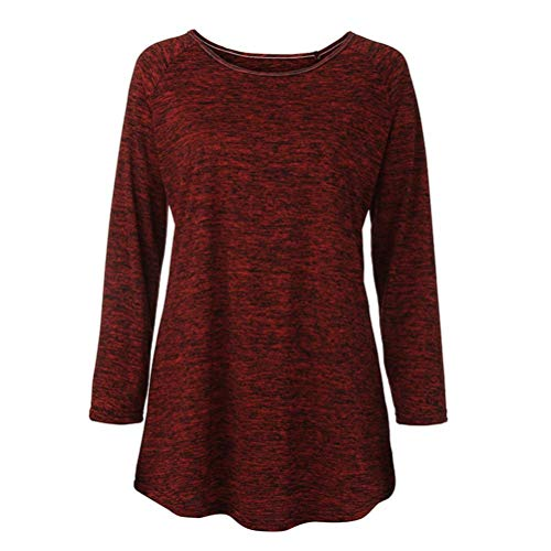 Plus Pull Elecenty Size Femmes Tops Vin Manches RounLong Rouge Blouse Unie 5XL Shirt S Couleur Fgq1w1