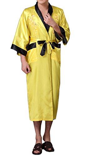 SexyTown Long Satin Lounge Bathrobe Classic Print Kimono Bobe Nightgown Medium Yellow-Black(Reversible)
