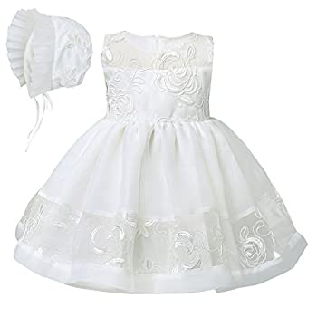 YiZYiF Baby Girls Embroidered Christening Baptism Dress Formal Party Gowns with Hat (3 Months)