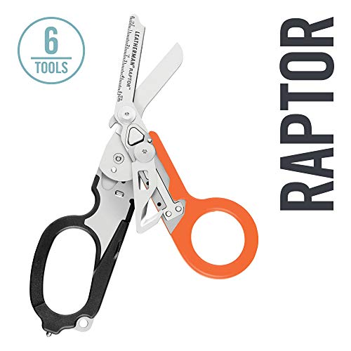 LEATHERMAN - Raptor Emergency Response Shears with Strap Cutter and Glass Breaker, Black-Orange with Utility Holster (FFP)