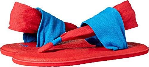 Sanuk Kids Girls' Yoga Sling Burst Duo Flip-Flop, Blue/red, 06/07 M US Big Kid