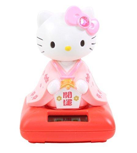 Cute Hello Kitty in Pink Kimono Holding Lucky Ema Solar Toy Home Decor Gift]()
