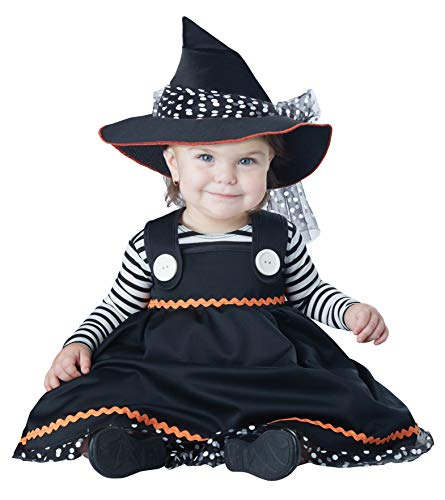 California Costumes Baby Girls Crafty Lil' Witch-Infant Costume, Black/White, 6 Mo-12