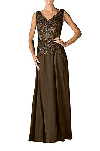 Ausschnitt Abendkleider Lang A Partykleider Braut mia Braun Brautmutterkleider Linie Ballkleider Chiffon V Spitze Rock La qSFgt0w