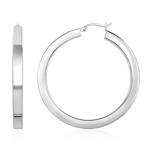 High Polish Tube Hoop Earrings in Sterling Silver by Jewels By Lux
