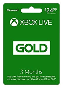 Microsoft Xbox Live 3 Month Gold Card (Physical Card)