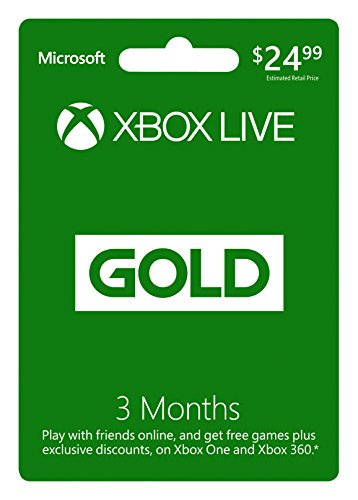 Microsoft Xbox Live 3 Month Gold Card (Physical Card) (Xbox Live 3 Code)