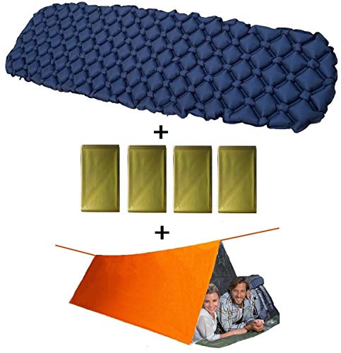 EriTin Ultimate Outdoor Bundle (Includes 1 Self Inflating Sleeping Pad, 4 Emergency Blankets & 1 Emergency Tent) Lightweight Emergency Kit for Hiking, Camping, Backpacking, Hunting & Outdoorsman