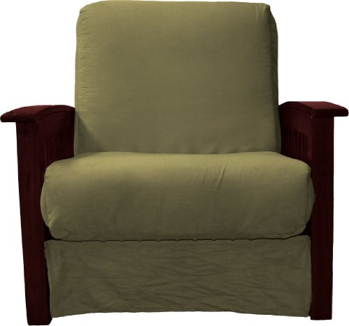 Brentwood Mission-Style Perfect Sit & Sleep Pocketed Coil Inner Spring Pillow Top Chair Sleeper Child Size Bed, Chair-size, Mahogany Arm Finish, Microfiber Suede Olive Gree ()