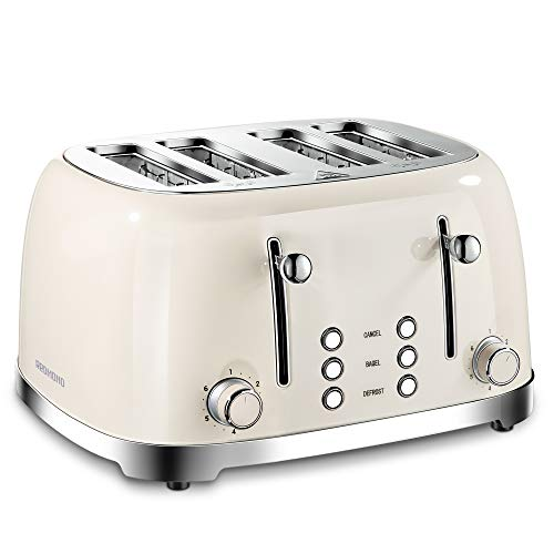 REDMOND 4 Slice Toaster Retro Stainless Steel Toasters with Bagel Defrost Cancel Function, 6 Browning Settings, Cream…