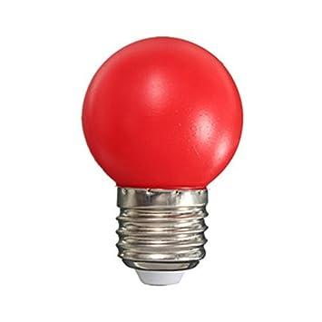 MYLL Bombilla LED de colores E27 Bombilla de Golf LED 1W Plástico Ahorro de Energía Lámpara Hogar Iluminación Decorativa AC 220V, Rojo, Estándar: Amazon.es: ...