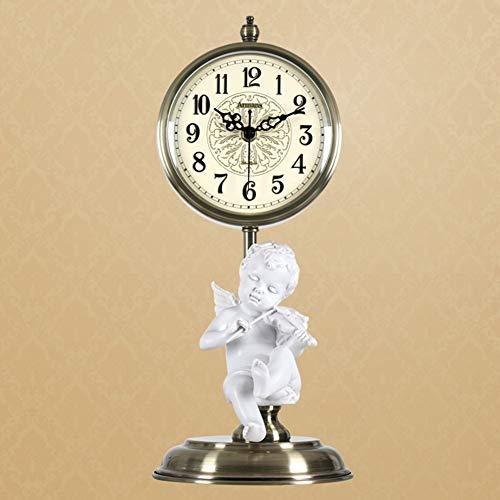 (Li-lamp Table Clock, Retro Desk Clock Living Room Silent Non Ticking Metal Classic Chic Bracket Clock Brass Battery Operated Cute Decorative Clock)