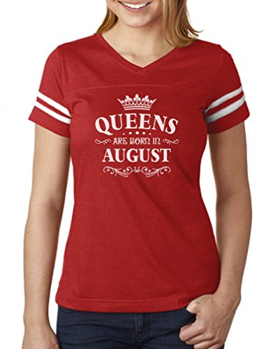 Tstars Birthday Gift For Women Queens Are Born In August Women Football Jersey T-Shirt Large Red/White - Queen Mothers Birthday