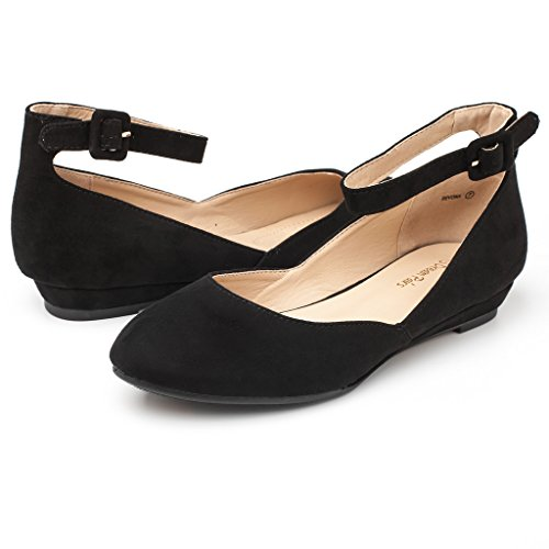 Wedge Shoes Suede PAIRS Low Flats Strap Revona Black Ankle Women's DREAM qfwpIq
