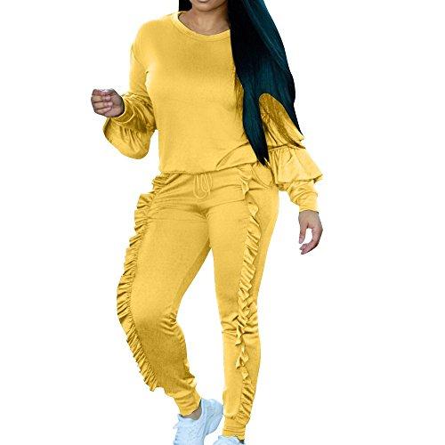 HYIRI Perfect Fashion Ladies 2 Piece Set, Women's Long Slevee Wave Edge Blouse TOP Trousers