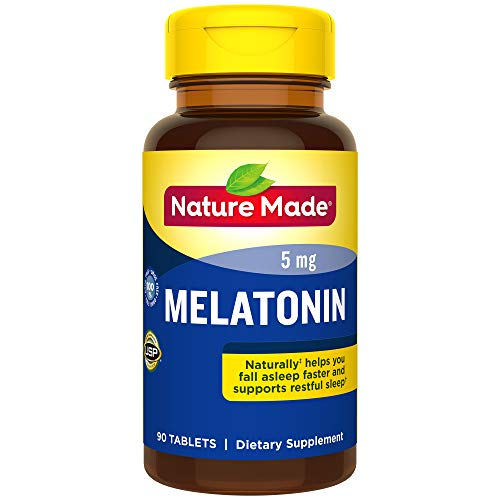 Nature Made Melatonin 5 mg Tablets, 90 Count for Supporting Restful Sleep (Packaging May Vary)