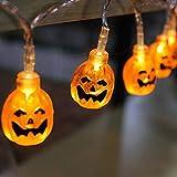 Elitlife Halloween String Lights, 14.7ft 30LEDs 3D Jack-O-Lantern Pumpkin Lights Waterproof String Lights Battery Operated Outdoor Halloween Lights, Warm White