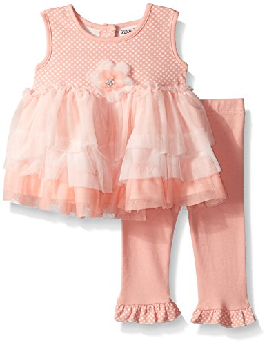 Little Lass Baby Girls' 2 Pc Capri Set Tier Tulle, Light Coral, 3M