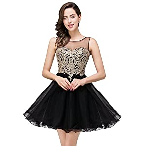 MisShow 2021 Women's Cocktail Dresses Crystals Applique Short Prom Dresses