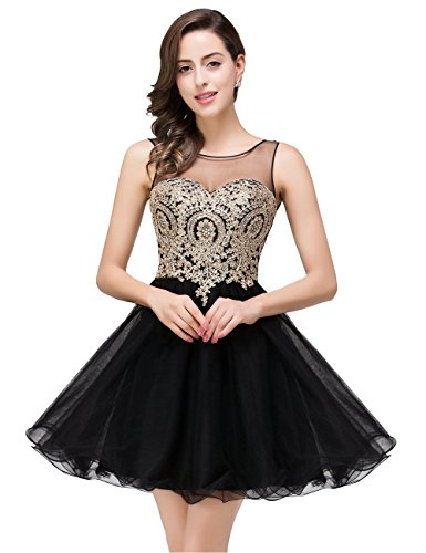 Women Knee Length Applique Tulle Short Beaded Prom Dress 2017