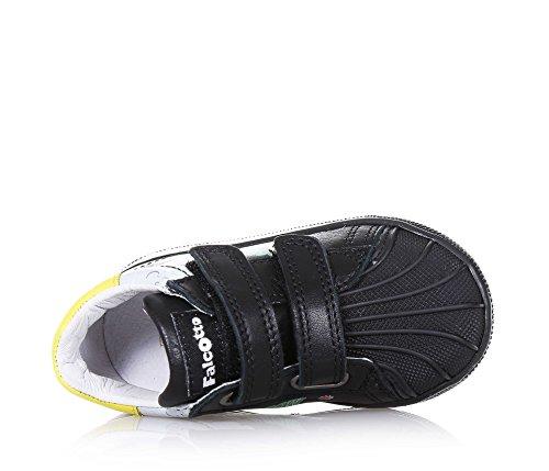 FALCOTTO - Chaussure noire en cuir, avec fermeture en velcro, partie frontale en caoutchouc, avec estampes décoratives latérales, garçon, garçons