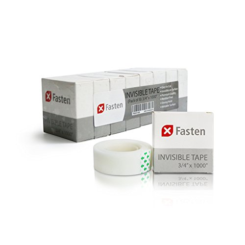 XFasten Magical Invisible Tape, 3/4-Inch x 1000-Inch, Pack of 8, Frosted and Invisible on Paper (Dispenser not included)