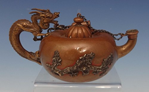 Mixed Metals by Gorham Copper Cigar Lighter Teapot Shape 3-D Dragon Handle #0495