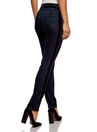 en Slim oodji 7900w Femme Jean avec Ultra Bleu Velours Bandes wxwCvf6q