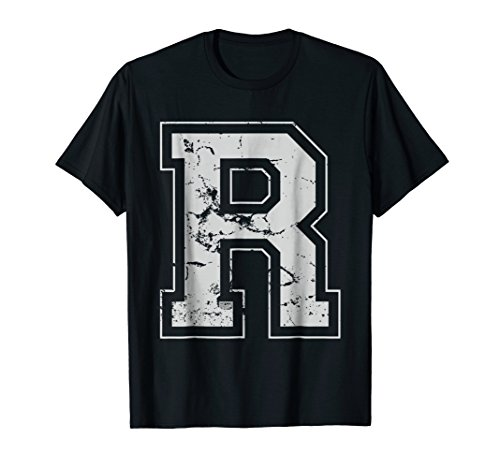 INITIAL LETTER R GRAY JERSEY SPORTS ATHLETIC PLAYER T-SHIRT -