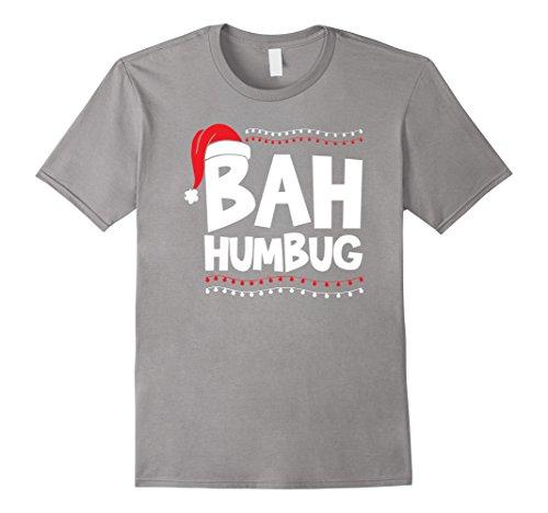 Mens Bah Humbug Christmas Hat Xmas Ornaments Decorations T-Shirt 2XL Slate (Bah Humbug Christmas Hat)