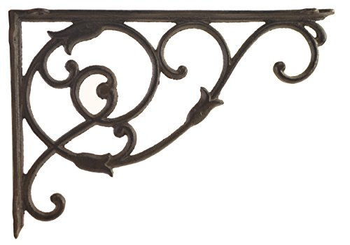 Import Wholesales Decorative Cast Iron Wall Shelf Bracket Ornate Vine Rust Brown 13.5