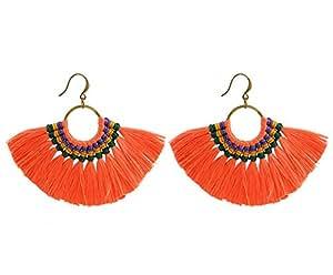 SUNGULF Brass Tassel Earrings Exaggerated Fan Fringe Handwork Tassel Drop Dangle Earrings for Women (Orange)