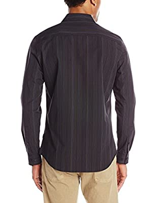 Calvin Klein Men's Variegated Fine Stripe Long-Sleeve Woven Shirt