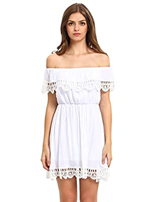 SheIn Women's Off the Shoulder Crochet Lace Patchwork Casual Dress