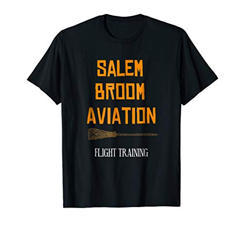 Salem Broom Aviation Flying Lessons Witch Halloween Shirt ()