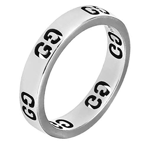 Fly.BUCKNOR Women's Fashion Luxury Ring Stainless Steel Hollow Letter Lovers Rings