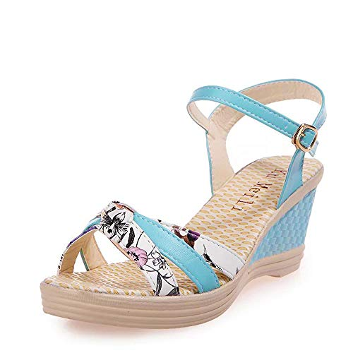 Thenxin Women Summer Floral Wedges Sandals Ladies Platform Open Toe High-Heeled Shoes (Blue,7.5 US)