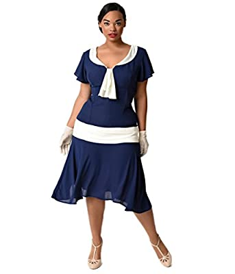 Unique Vintage Plus Size Navy Blue & Ivory Wilshire Flapper Day Dress