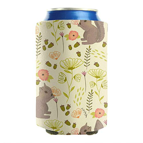 Goldest Funny Squirrels Beer Can Cooler Sleeves Covers Set of 2 Foldable Mug Cover Perfect for Barbecue, Weddings, Parties and Outdoor Activities (Squirrel Beer Koozie)