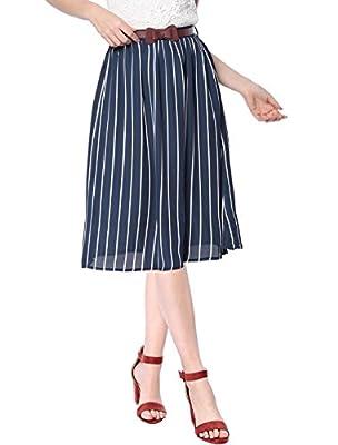 Allegra K Women's Elastic Waist Striped A-Line Chiffon Skirt with Belt