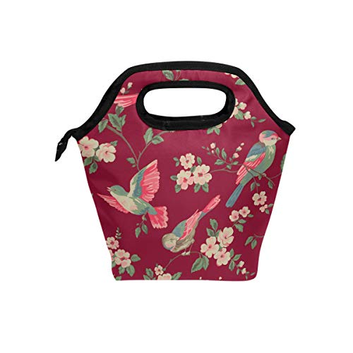 - MALPLENA Isabelle Floral Toile Wallpaper tote lunch bag Insulated Meal package