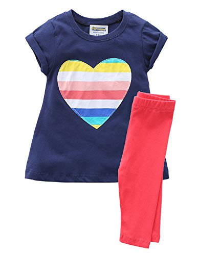Fiream Girls Cotton Clothing Sets Summer Shortsleeve Colorful Dress Capri Pants 2 Pieces Clothing Sets(SY062,2T)