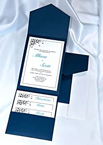 All In One Pocket Invitation Kit   Navy Blue Elegance   Pack Of 20