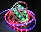 LEDwholesalers Flexible Color Changing Waterproof RGB Ribbon Flexible LED Strip 16ft with Remote Control, 2038RGB+3311