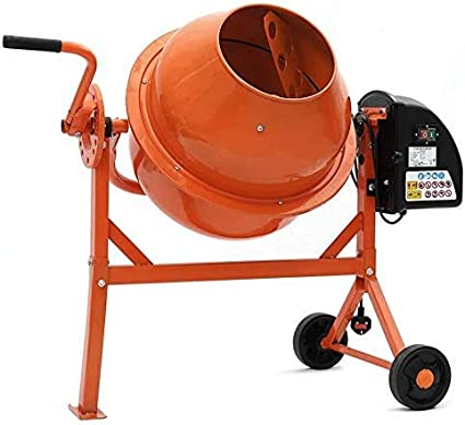 Herramientas Mezclador el/éctrico de construcci/ón de yeso mortero barril con dos de lado de rueda de /ángulo ajustable mango m/óvil,Orange