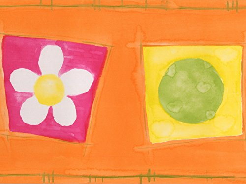 Red Yellow Green Squares with Flowers Balls Hearts Orange Wallpaper Border for Kids, Roll 15' x 7'' - Orange Flower Wallpaper