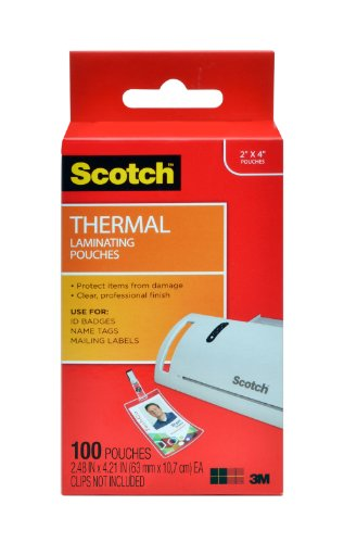 Badge Laminator (Scotch Thermal Laminating Pouches, 2.4 x 4.2-Inches, ID Badge without Clip, 100-Pouches (TP5852-100))