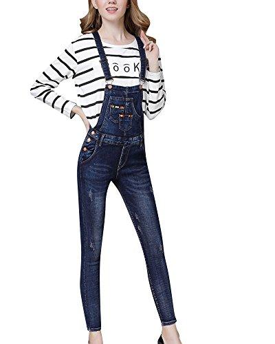 Alta Marino Strappati Jeans Vita Pantaloni Denim Blu Donna Da Salopette Y6zqF7