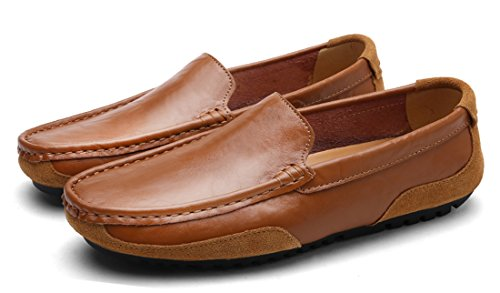 f0c6d76c9988 ... Tda Menns Slip-on Gummisåle Skinn Uformell Kjøre Walking Loafers Båt Sko  Brune